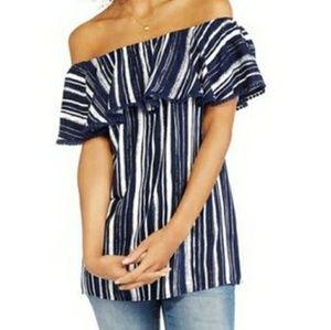 16/18 XL Off Shoulder Stripe Top Blouse